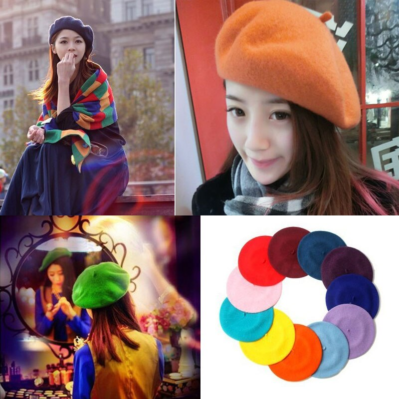 Hot Sell Fashion New Women Wool Solid Color Beret Female Bonnet Caps Four seasons All Matched Warm W