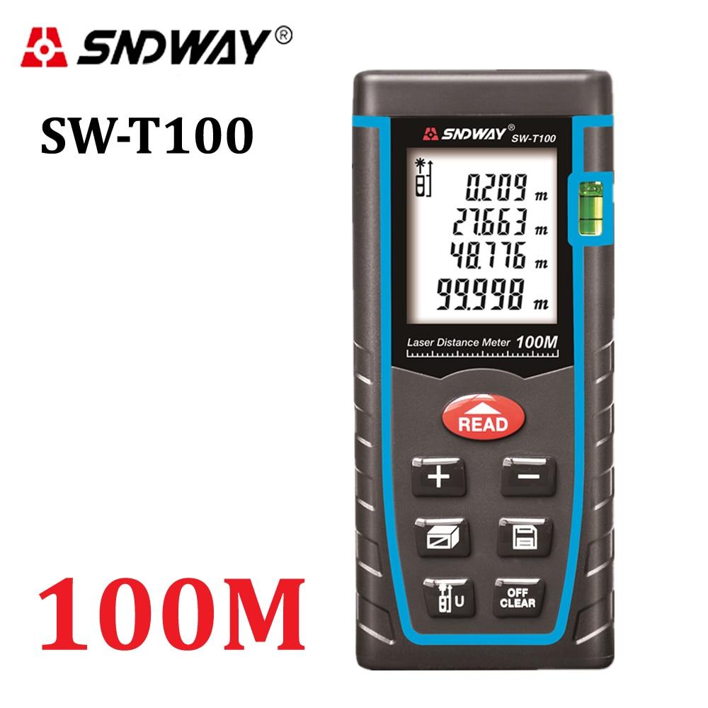 SNDWAY T100 الليزر مقياس مسافات rangefinder 100 متر 328ft ترينا الليزر مستوى فقاعة المدى مكتشف بناء شريط القياس أدوات اختبار