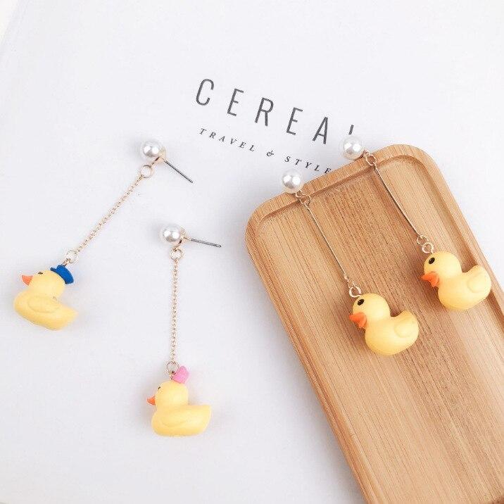 Neue Ankunft frauen Mode Tier Studs Ohrringe Nette Kleine Gelbe Ente Geformt Ohrring Nachahmung Perle Kreative Schmuck Handwerk