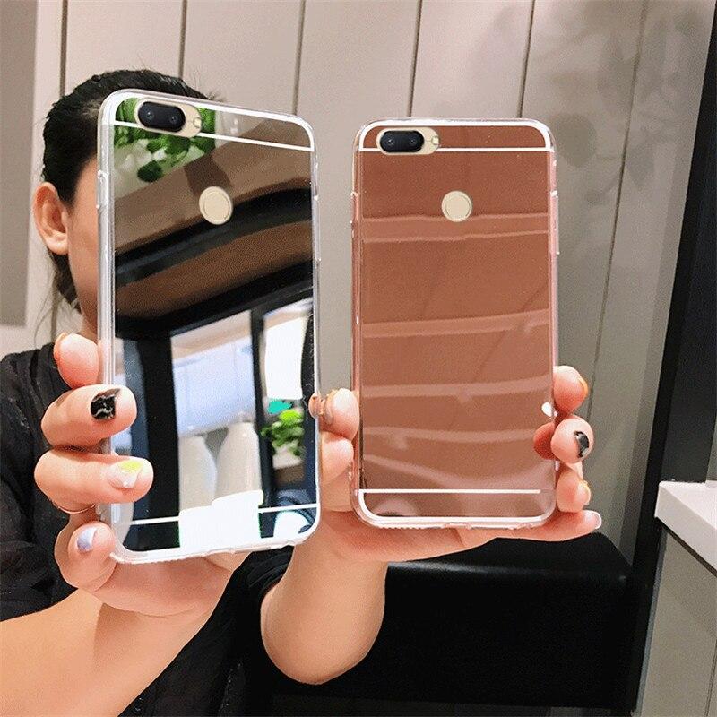 De maquillaje de lujo espejo caso para Xiaomi Redmi A1 S2 3S 3 Nota 3 4 4X 4A 5 5S 5X más 5A 6 6A 6X Pro 8 8SE oro rosa cubierta transparente