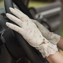 Gants vintage en coton dentelle rose R389   Gants de conduite, anti-glisse, design court et minces, collection printemps et été pour femmes