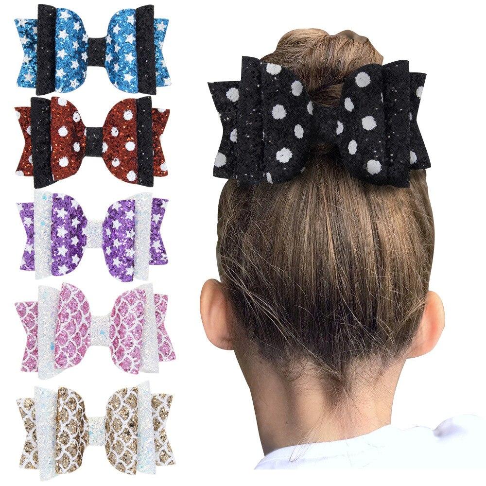 3 polegada glitter imprimir coração arcos de cabelo grampos cabelo para meninas crianças grampo de cabelo crianças festa acessórios para o cabelo
