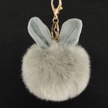 Cute Ears Pompon KeyChains Rabbit Fur Key Rings Car KeyCute Pendant Fashion Pompon Accessories Trinket Women Bag Charms Jewelry