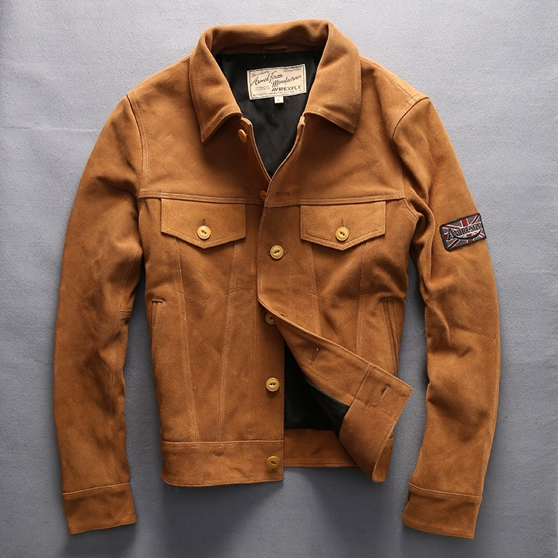 men's vintage genuine cow skin leather jacket