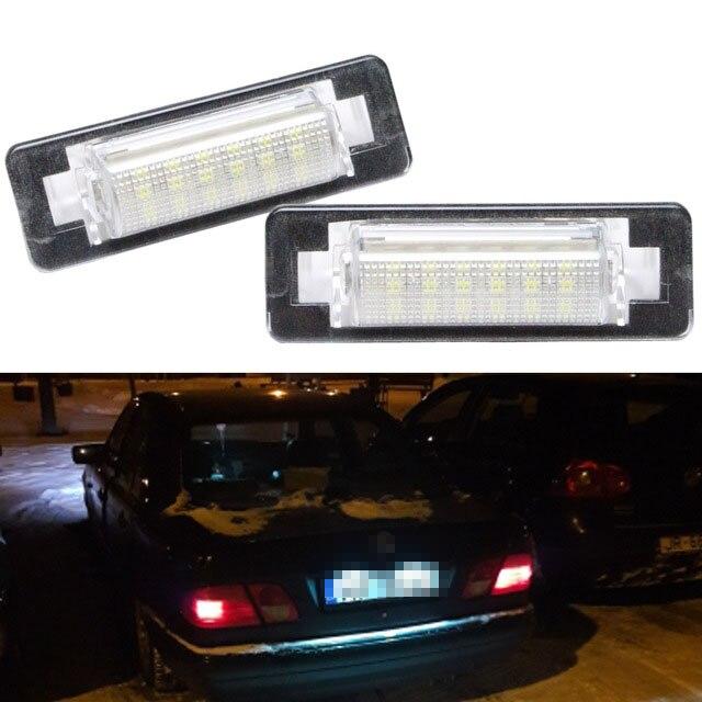 2 uds LED para placa de matrícula lámparas OBC Error 18 LED para Mercedes Benz W210 W202 E300 E55 C230 C43 AMG Canbus coche estilo