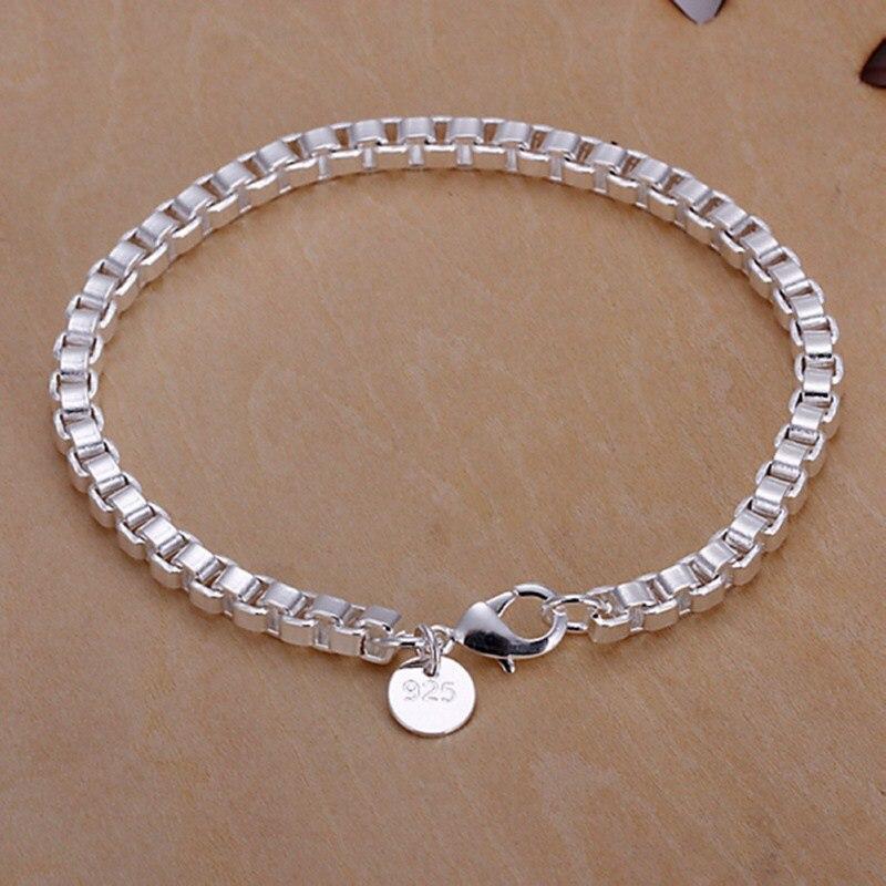 Feine sommer stil 925 sterling silber armband 925-sterling-silber schmuck 4mm box kette armbänder für frauen männer SB172