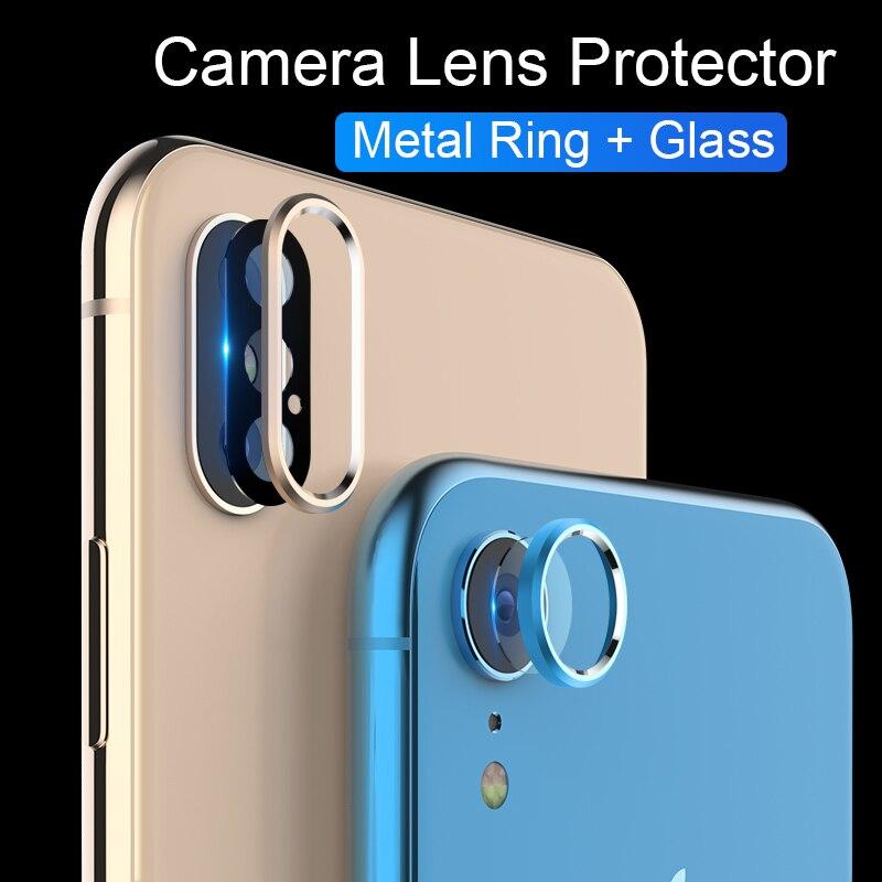 Cristal para iPhone XR X XS 11 Pro Max, cristal templado, lente de cámara, anillo Protector, funda para iPhone XS XR X 8 7 6S, Protector de pantalla