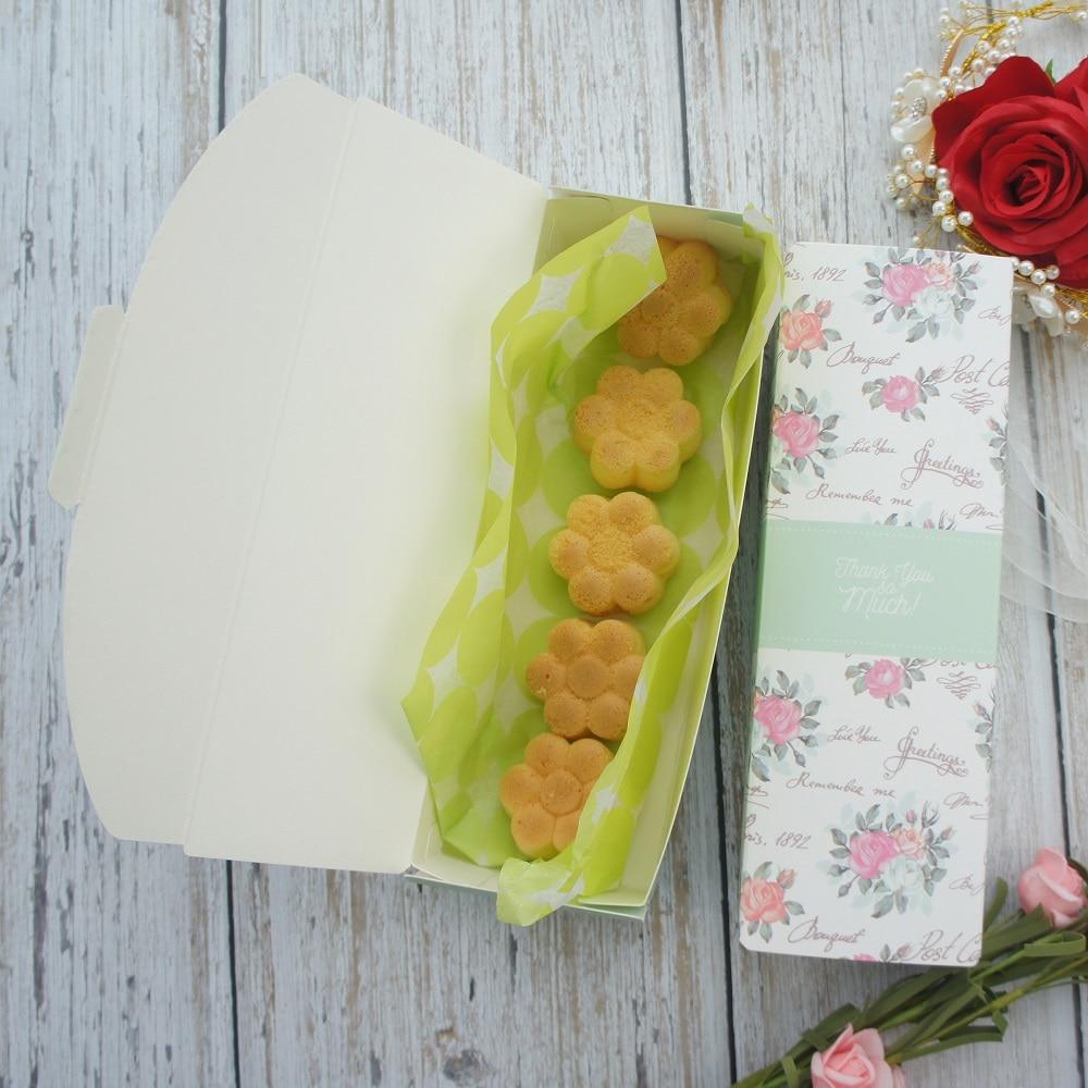 21,5*7,2*5 cm 10 Uds. Caja de rosa de papel verde para jardín para hornear macarrones, galletas, dulces, Chocolate, boda, fiesta de cumpleaños, paquete de regalo