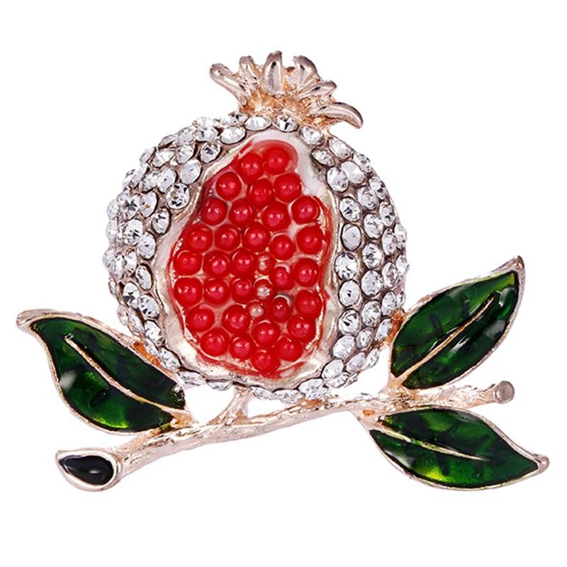 Broche bonito de joyería pintado de Granada roja, broches de moda con diamantes de imitación, Pins para mujer, Pin accesorio para vestido de fiesta de boda