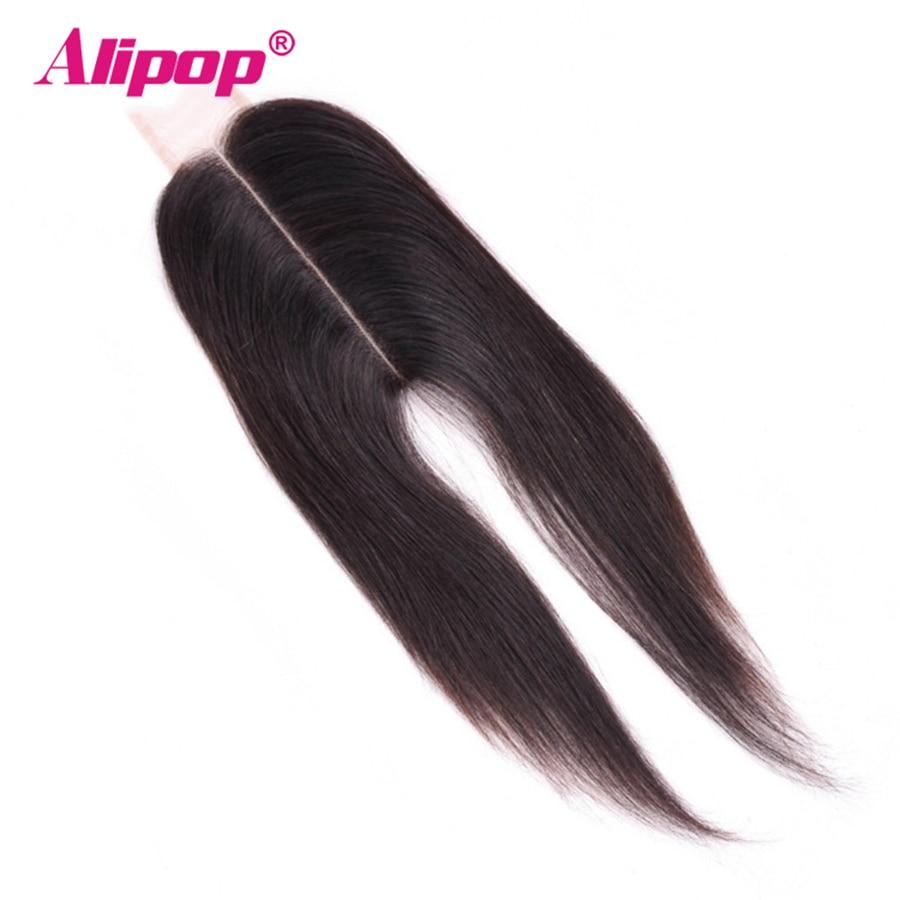 ALIPOP 2X6 Closure Kim k Closure Brazilian Human Hair Closure 2*6 Lace Straight Natural Color 100% Remy Hair Middle Part