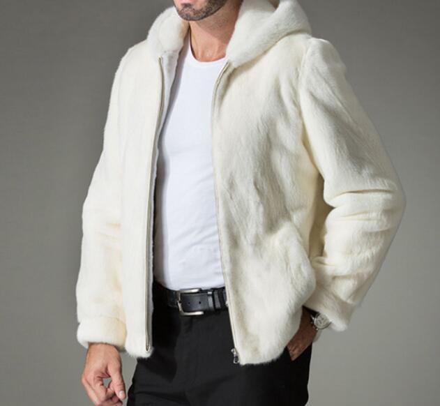 S-6XL/حار/الربيع الرجال جديد الأزياء التقليد المنك الفراء مقنعين الدافئة الأوروبية والأمريكية قصيرة كبيرة الحجم معطف