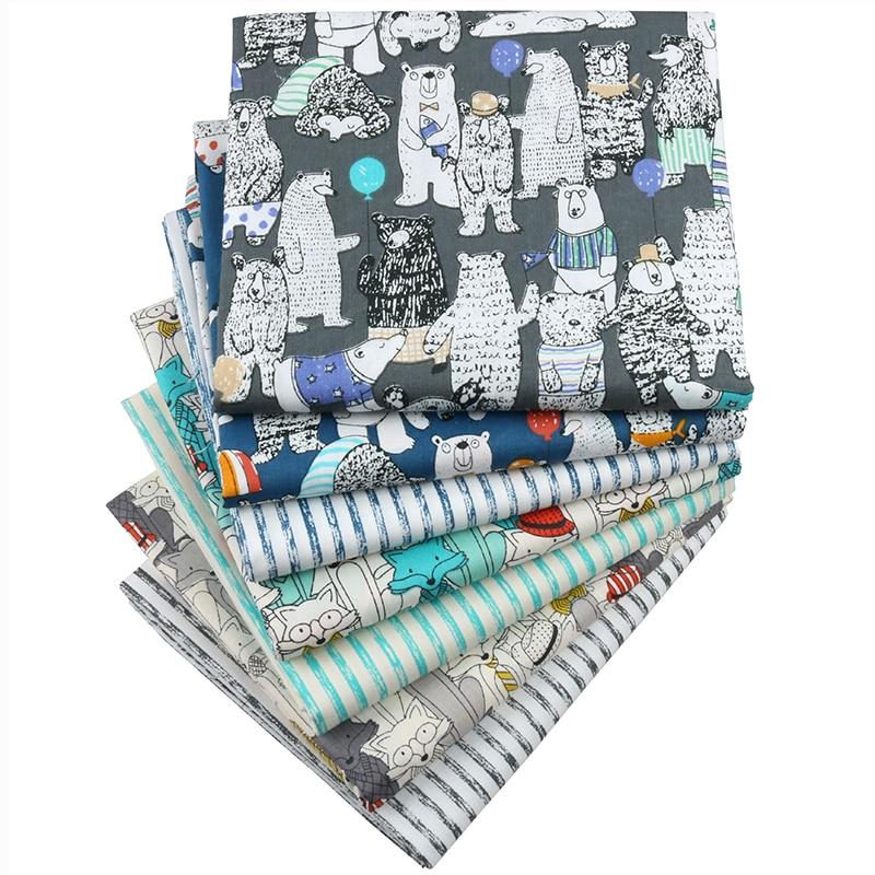Del Nanchuang de dibujos animados Fox sarga tejido DIY paño hecho a mano coser acolchado grasa material de mosaico para bebé y niños 7 unids/lote