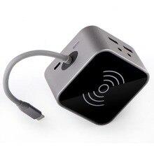 8 en 1 thunderbolt 3 adaptateur USB c hub pour iPhone chargeur de téléphone sans fil station daccueil pour macbook type c hub
