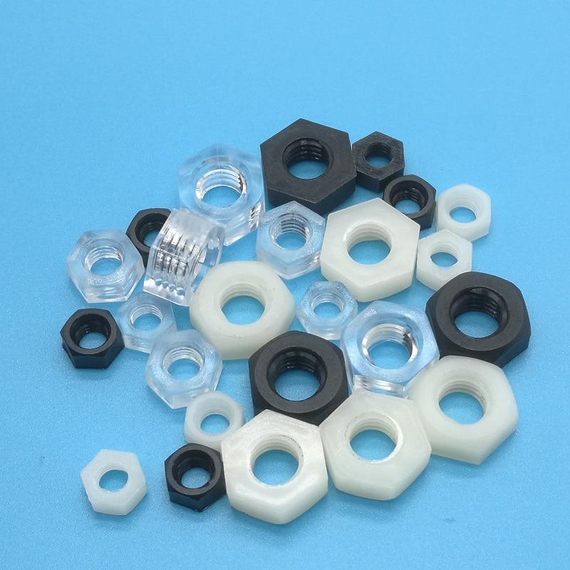 50 Uds DIN934 M2 M2.5 M3 M4 M5 M6 M8 PA66 blanco o negro Nylon tuerca hexagonal tuercas hexagonales de plástico rosca métrica traje para tornillos pernos