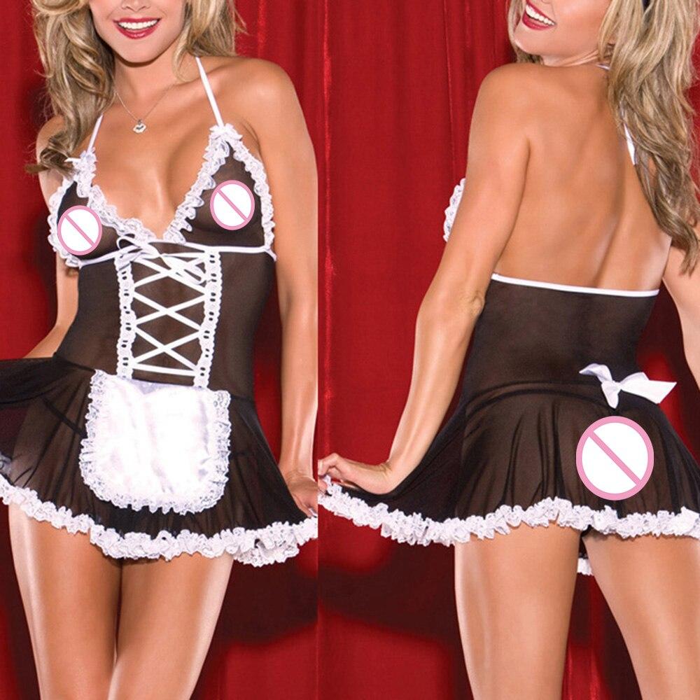 KLV 3 unids/set de lencería Sexy Cosplay francés delantal criada Wome encaje Backless traje Babydoll vestido uniforme Lencería erótica