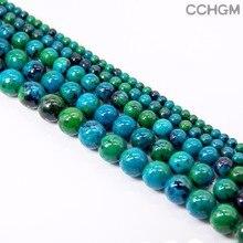 CCHGM Heißer Verkauf Großhandel Poliert Natürliche Chrysocolla Stein Perlen Für Die Schmucksachen DIY Armband Halskette 4/6/8/10/12/14mm