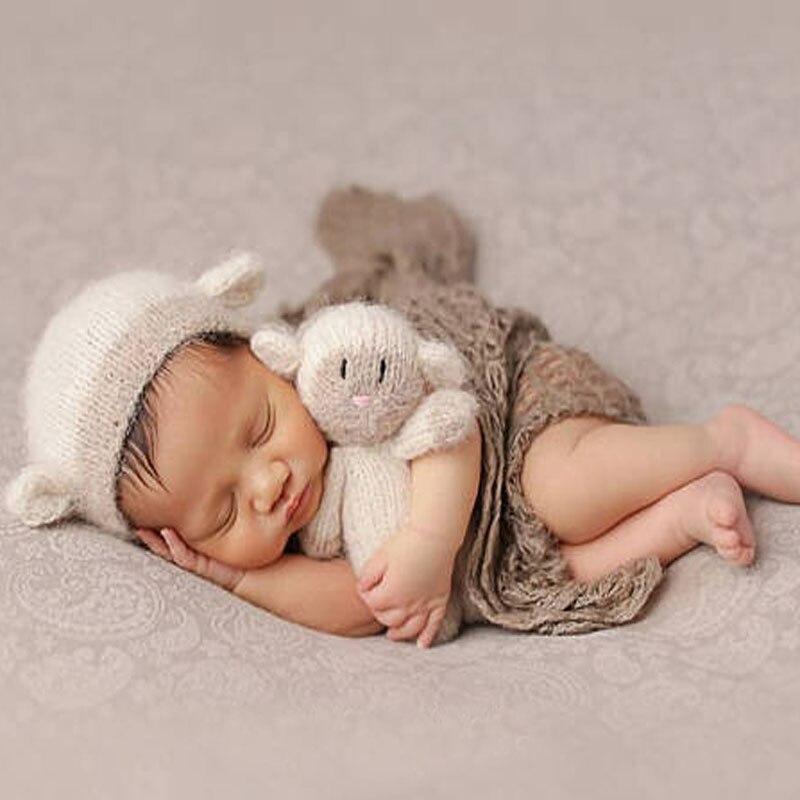 Newborn Photography Mohair Bunny Doll Props Tiny Baby Gilr Boy Photo Shoot Cartoon Dog Sheep Bear Doll bebe fotografia Props