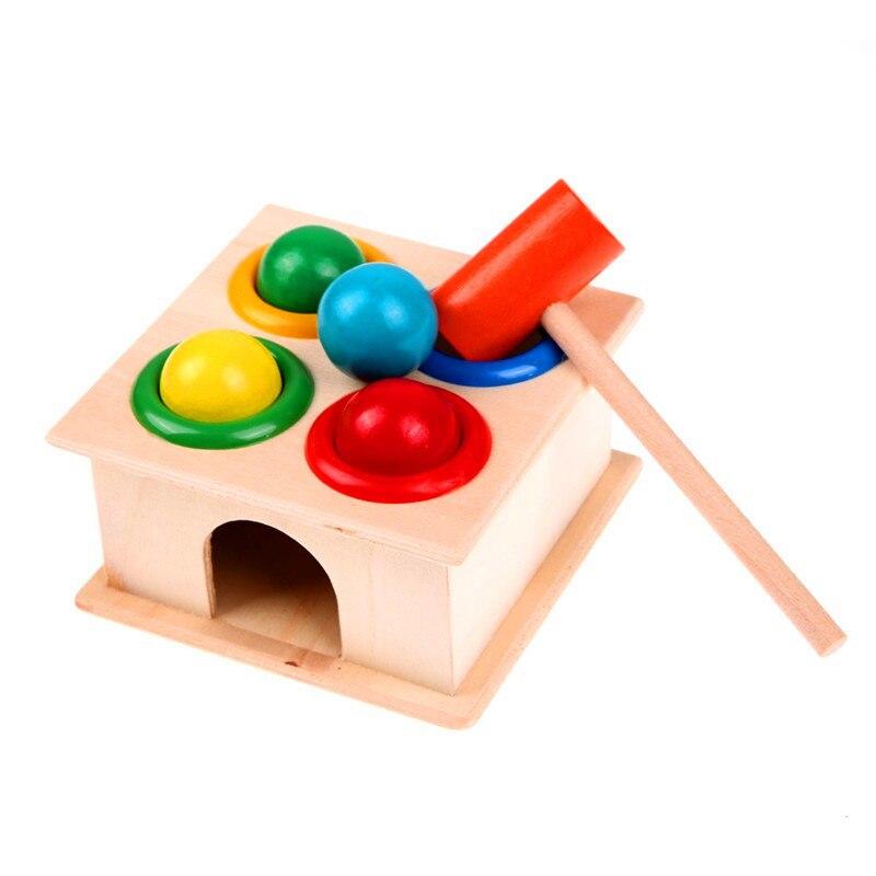 1Set Holz Hämmern Ball Hammer Box Kinder Spaß Spielen Hamster Spiel Spielzeug Frühen Lernen Pädagogisches Spielzeug