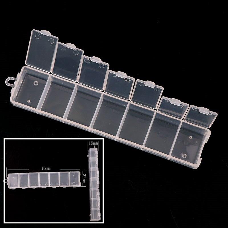 1 ud. 160*32mm 7 rejillas caja de almacenamiento rectangular de plástico transparente DIY adornos de decoración para uñas joyería herramientas caja contenedor