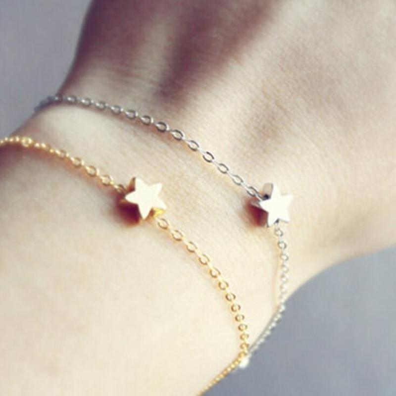 Gran oferta 2018, pulsera amuleto de estrella Simple a la moda para mujer, pulseras de Metal de Color dorado y plateado, joyería de declaración para mujer, regalos de fiesta