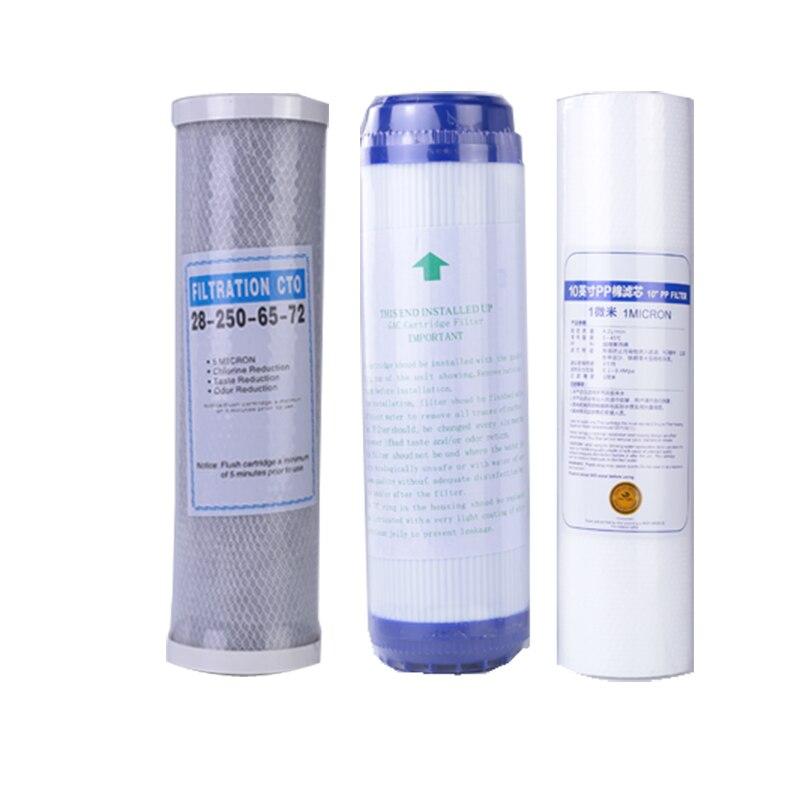 Filtro de algodão pp de 3 níveis + filtro purificador de água 10 udf filtro de carbono ativado granular + cto comprimido de carbono osmose reversa,