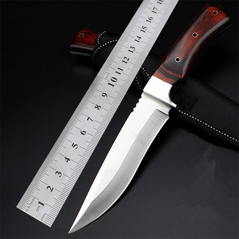 Армейский нож 7CR17Mov, стальные фиксированные армейские ножи для выживания на природе, тактические армейские охотничьи ножи с деревянной ручк...