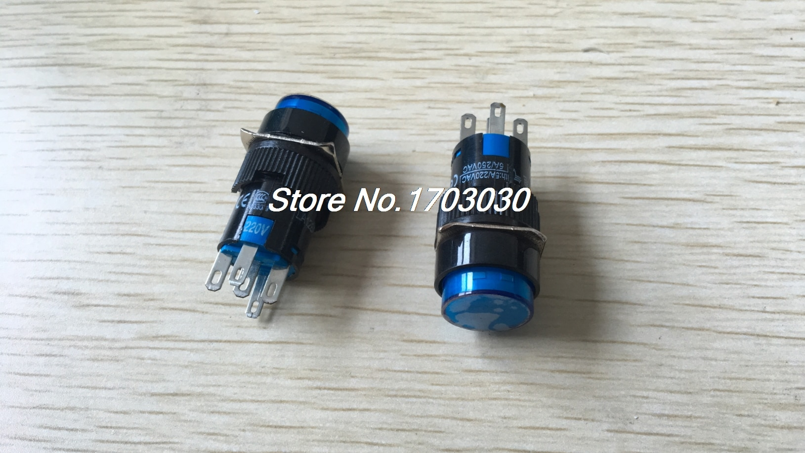 2 uds AC 220V luz azul SPDT de acción momentánea redondo AC 250V 1A interruptor de botón