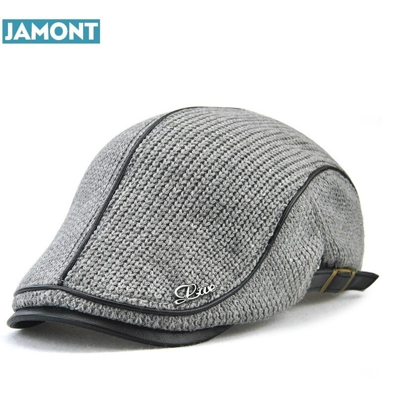JAMONT Hohe Qualität Englisch Stil Winter Woolen Ältere Männer Kappe Dicke Warme Baskenmütze Hut Klassische Design Vintage Schirmmütze Snapback