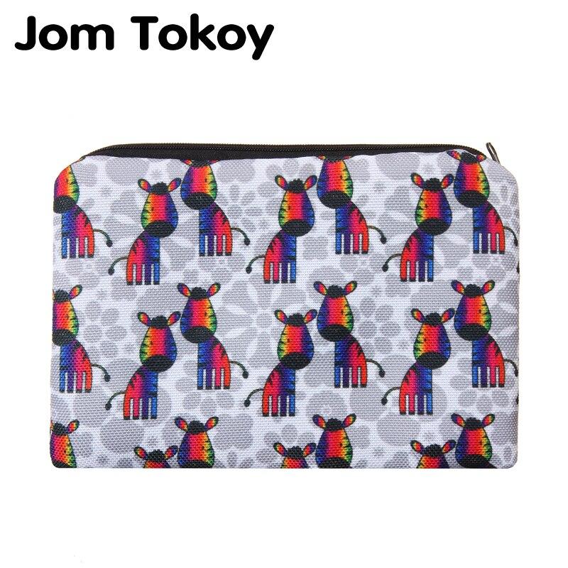 Jom Tokoy-bolsa neceser con estampado de cebra en 3D para mujer, bolsa...