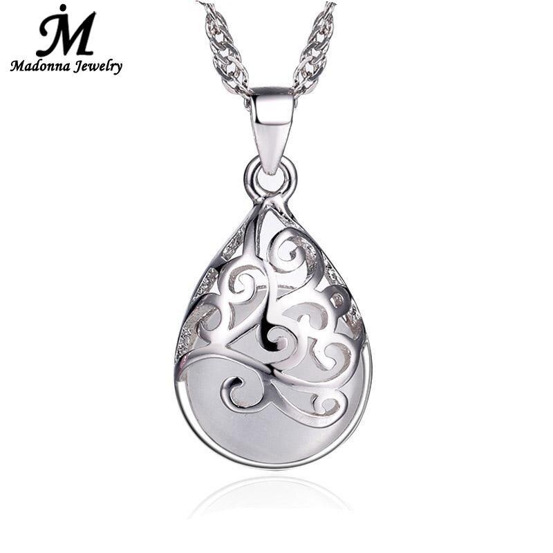 Nouveau pendentif plaqué argent rose et blanc pierre de lune pierre opale pendentif creux Design amour Trevi fontaine femmes bijoux