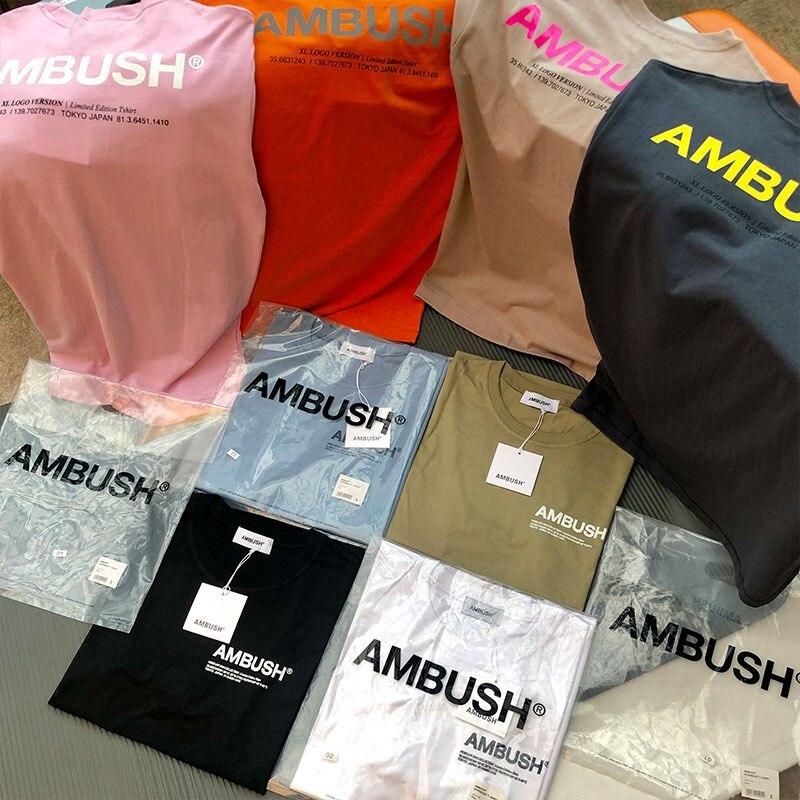 AMBUSH/футболка Вэнь 1:1, высокое качество, однотонные, 8 цветов, черные, белые, хаки, синие футболки, футболки в стиле хип-хоп, Летний стиль, засада, футболка