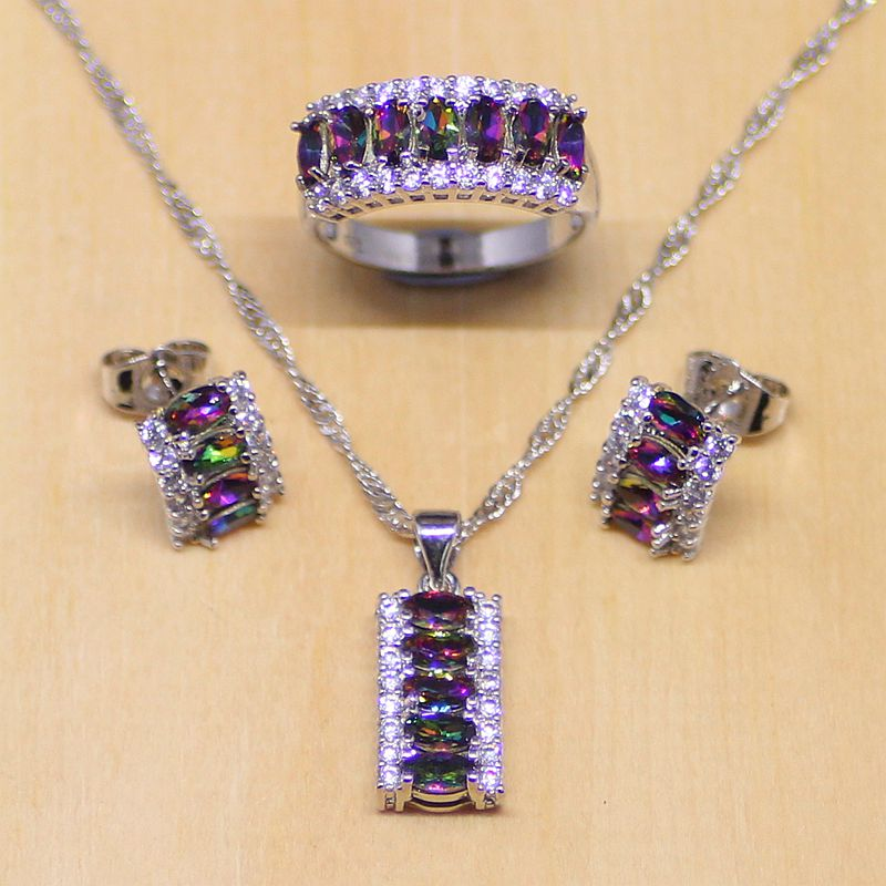 Mystic Rainbow Fire Zircon Women 925 Sterling Silver Jewelry Set Wedding Earrings/Pendant/Necklace/Rings Free Gifts Box