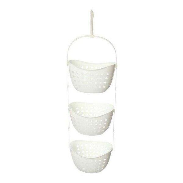 Venta al por mayor 3 niveles cesta de plástico ducha Caddy colgar estante organizador almacenamiento, blanco