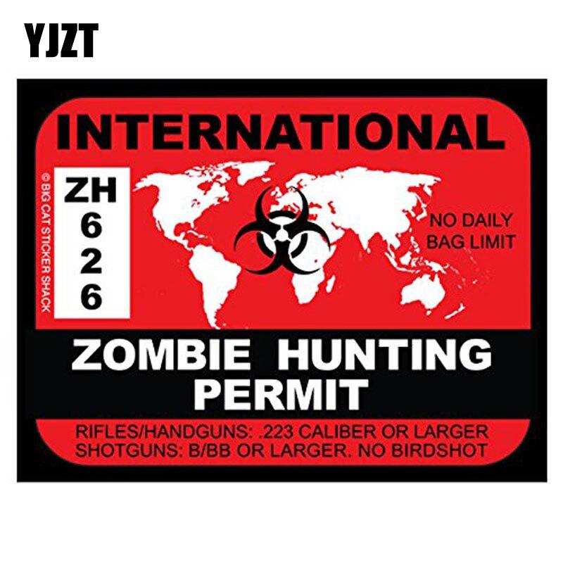 YJZT 17x12,9 CM personalidad internacional ZOMBIE permiso de caza Retro-reflectante Calcomanía para auto, motocicleta calcomanías C1-8055