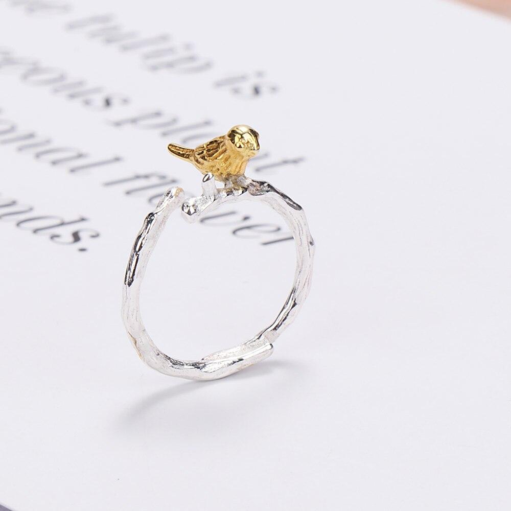 Vintage Retro Jewelry Animal Bird On Branch Ring Openable Adjustable Size Anillo de plata