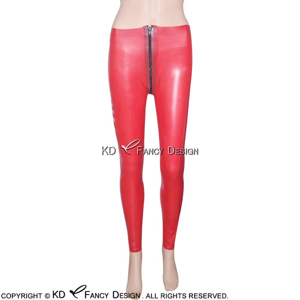 Red Sexy Latex Leggings With Front To Crotch Zipper Rubber Pants Jeans Trousers Bottoms Plus Size CK-0012