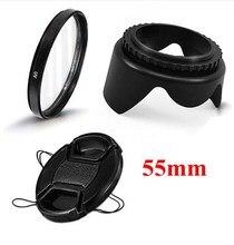 55mm Kamera Zubehör 3 in 1 set UV Objektiv Filter Objektiv Kappe Objektiv Haube für Canon T5i T4i T3i t3 T2i 18-55mm