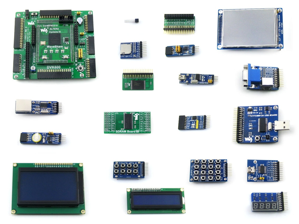OpenEP4CE10-C Package B # EP4CE10 EP4CE10F17C8N ALTERA Cyclone IV FPGA Development Board + 18 Accessory Modules Kits