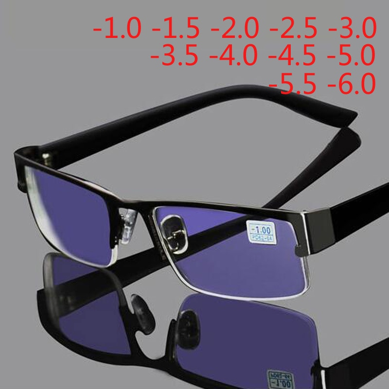 Stainless Myopia Glasses Men Eyeglasses Half Metal Spectacles Eyeglass Frame -0.5 -1.0 -1.5 -2.0 -2.