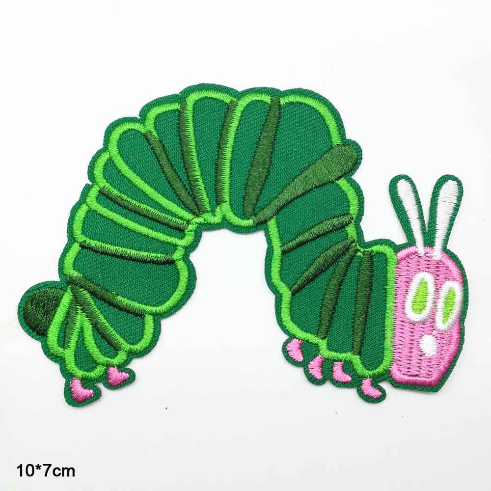 Очень жаждущая гусеница, зеленый утюжок для насекомых, вышитые патчи для одежды, наклейки для одежды, аксессуары для одежды