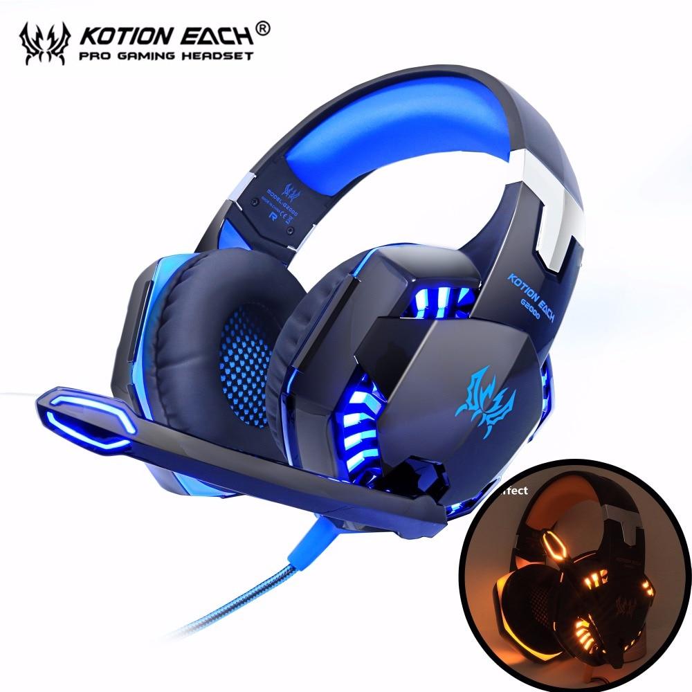 سماعات رأس لألعاب الكمبيوتر-Kotion كل G2000, سماعات رأس للألعاب ، صوت ستيريو ، أفضل سماعة ألعاب ، جهير عميق ، سماعة رأس مع ميكروفون ، إضاءة LED للاعبي...
