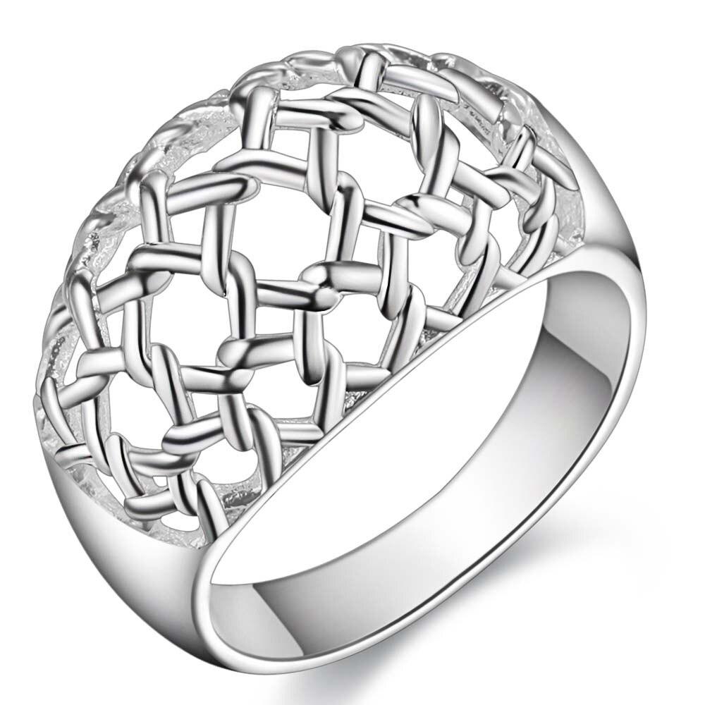 hollow shiny decent Silver plated Ring Fashion Jewerly Ring Women&Men , /UNZICXRI HAWRTRLV