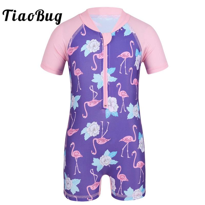 TiaoBug Baby Girls One-piece Swimsuit Short Sleeves Flower Flamingo Pattern Swimwear Rash Guard Children Toddler Bathing Suit