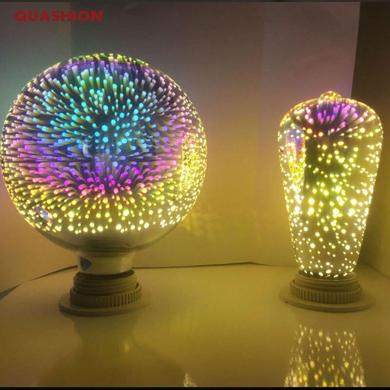 Nova 3d fogos de artifício lâmpada mágica e27 luz tungstênio st64/g95/diamante/estrela coloful hotel loja de mercado iluminação decorativa