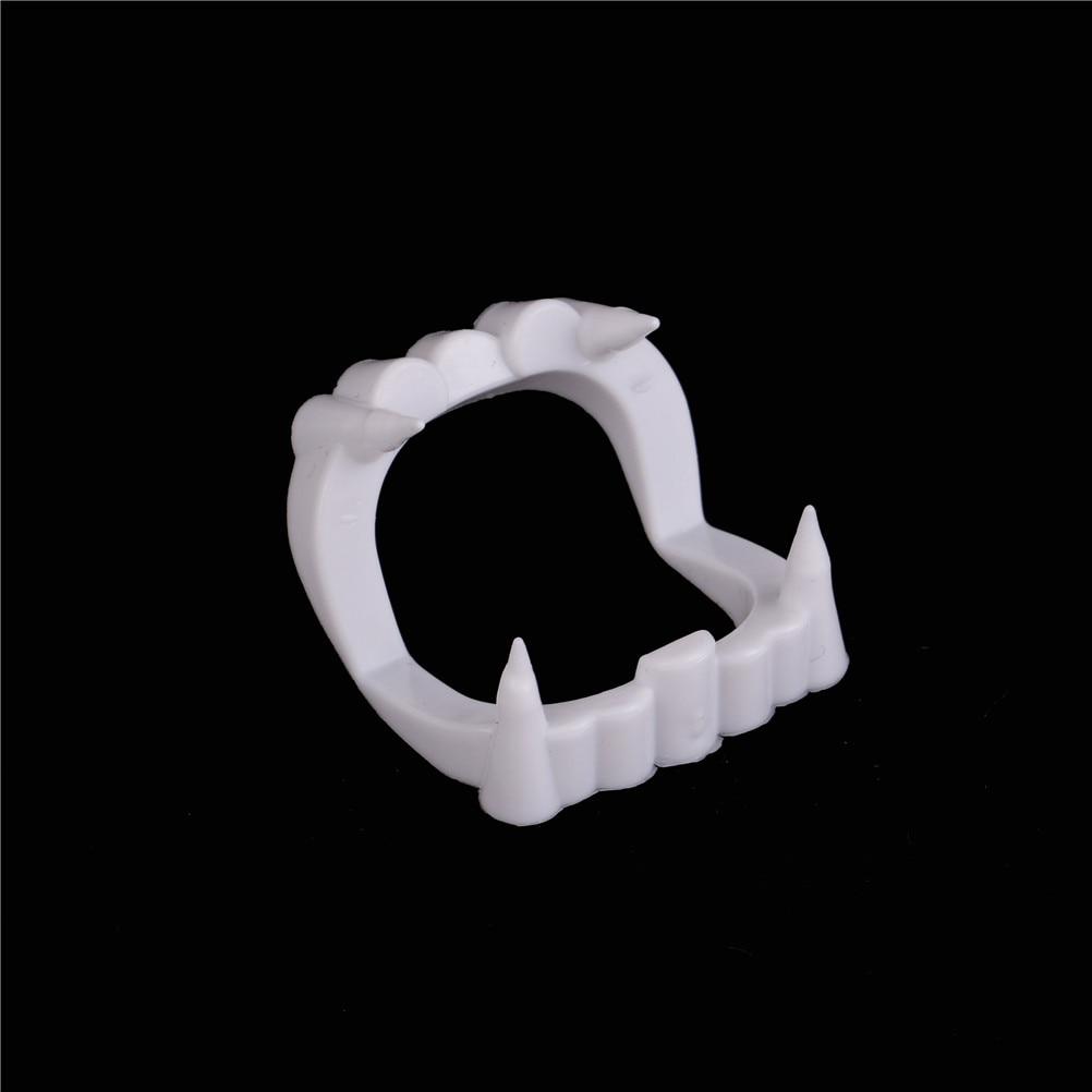 1 pieza luminoso vampiro dientes falsos Dracula dientes Halloween monstruo Hombre Lobo Zombie colmillos Halloween mascarada Cosplay disfraz Prop