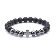 Hematite 8mm Lava Stone Buddha Head Cross Charm Bracelet Essential Oil Diffuser Bracelet Jewelry