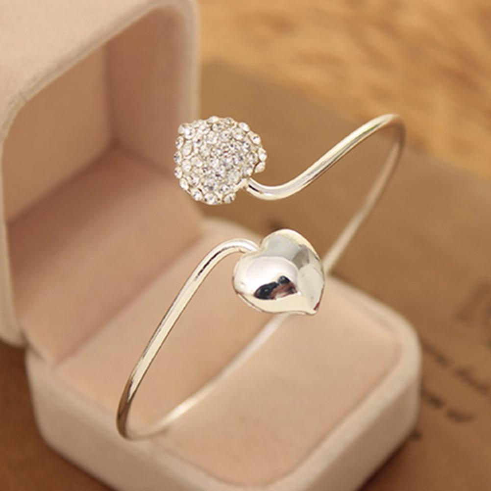 Rhinestone Love Heart Arm Cuff Armband Armlet  Bangles New Fashion Bangles for Women Girl Lady Jewelry Wholesale