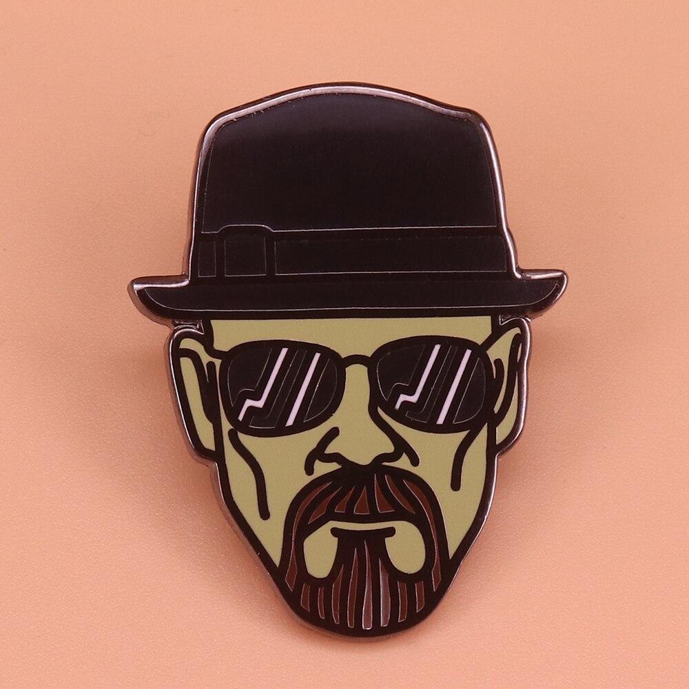 Breaking Bad הייזנברג סיכת מגניב שחור כובע דש פין בורג ברקים משקפי שמש איש תג בציר תכשיטי חולצה מעיל גישה