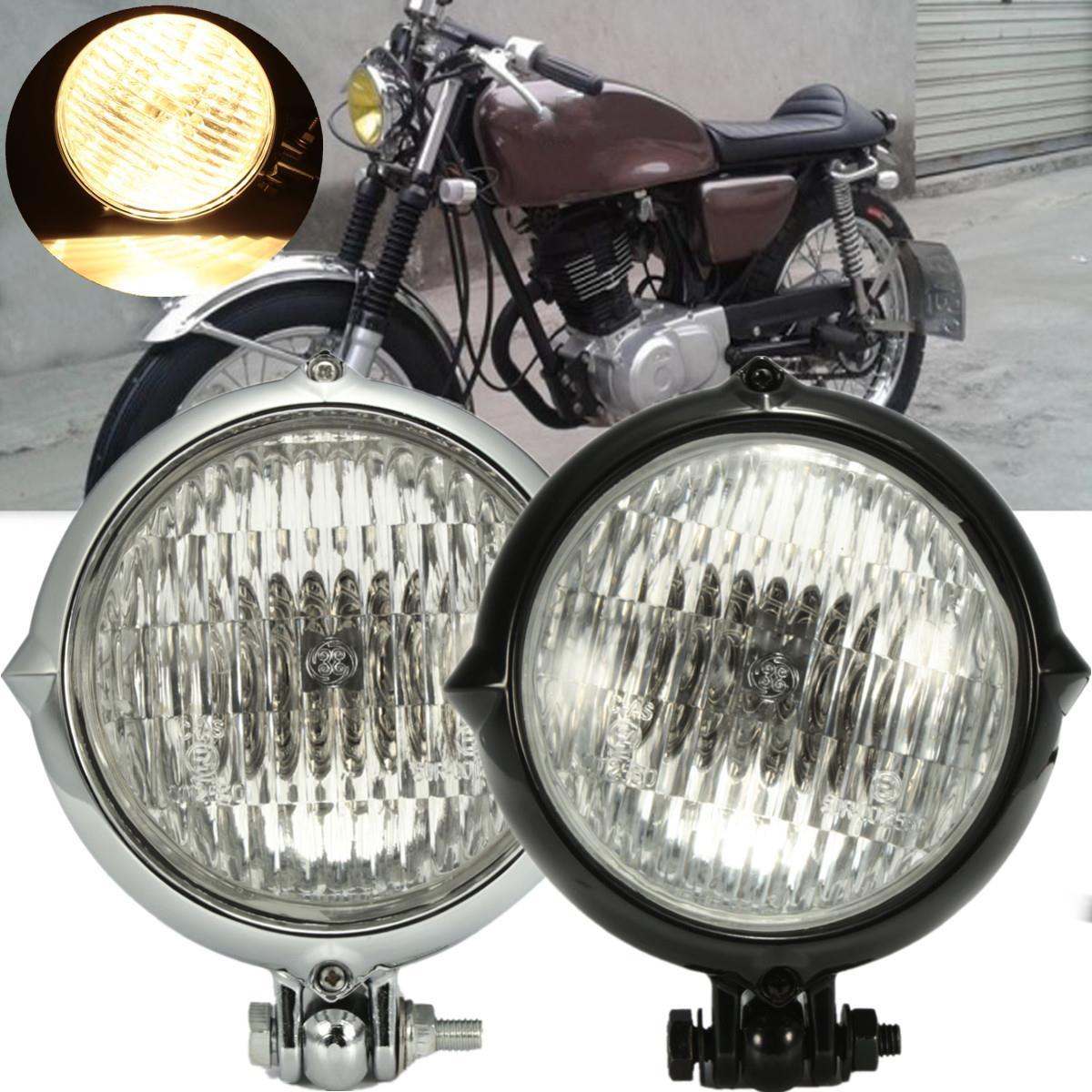 Chrome Black 4 inch Motorcycle Headlight Yellow Light Lamp For Harley Bobber Chopper