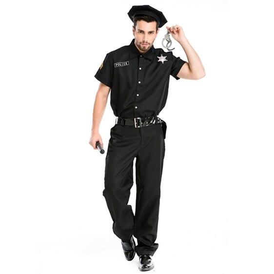 Trajes da polícia do sexo masculino preto traje de halloween para homens deguisement halloween policial fantasia cosplay roupas